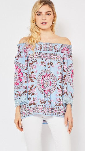 Pretty Blue & Pink Ornate Off Shoulder Top - Midnight Magnolia Boutique