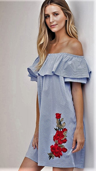 Blue & White Pin Stripe Off Shoulder Tunic with Rose Embroidery - Midnight Magnolia Boutique