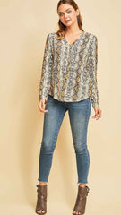 Brown Animal Print V-Neck Top - Midnight Magnolia Boutique