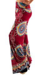 Burgundy Mandala Print Palazzo Pants - Midnight Magnolia Boutique