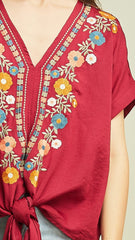 Burgundy Floral Embroidered Top with Tie - Midnight Magnolia Boutique