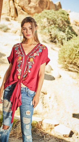 f83885255e84a Burgundy Floral Embroidered Top with Tie