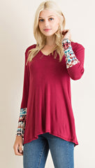 Burgundy Hoodie with Tie-Dye Print Lining - Midnight Magnolia Boutique