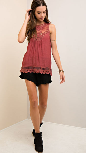 Burgundy Sleeveless Victorian Lace Top