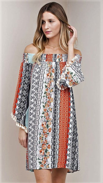 Coral Print Off Shoulder Boho Tunic