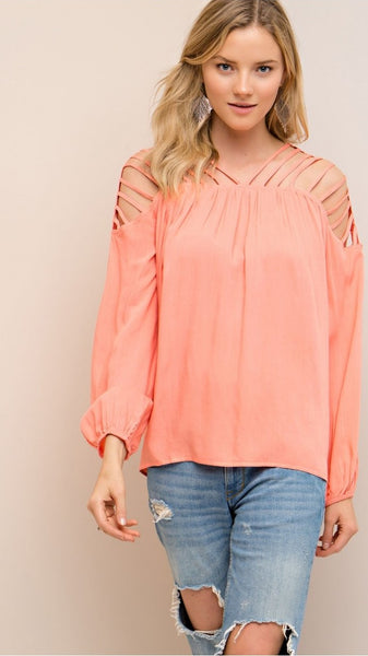 Coral Strappy Top with Cut Out Details - Midnight Magnolia Boutique