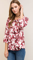 Cranberry & Ivory Vintage Floral Top - Midnight Magnolia Boutique