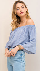 Dark Blue & White Pin Stripe Off Shoulder Top - Midnight Magnolia Boutique