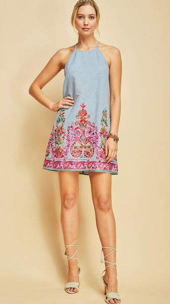 Blue Denim Halter Dress with Pink Embroidery
