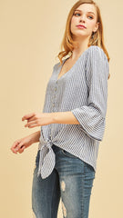 Denim Blue & White Stripe Tie Top - Midnight Magnolia Boutique