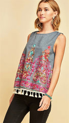 Blue Denim Sleeveless Embroidered Top - Midnight Magnolia Boutique