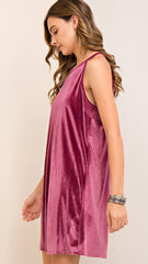 Dusty Rose Velvet Halter Dress