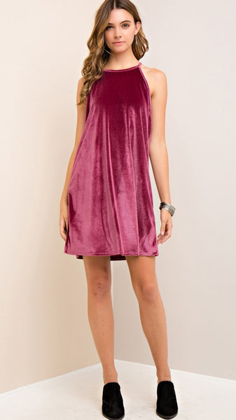 Dusty Rose Velvet Halter Dress - Midnight Magnolia Boutique