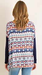 Navy Tie-Dye Print Long Sleeve Top