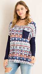 Navy Tie-Dye Print Long Sleeve Top - Midnight Magnolia Boutique