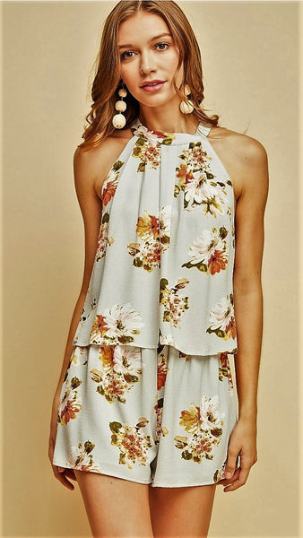 Light Grey & Rust Floral Romper - Midnight Magnolia Boutique