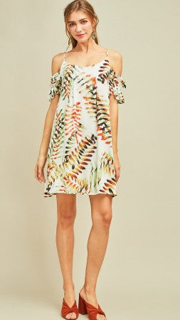 White, Green & Rust Print Cold Shoulder Dress - Midnight Magnolia Boutique
