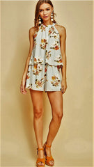 Light Grey & Rust Floral Sleeveless Romper - Midnight Magnolia Boutique