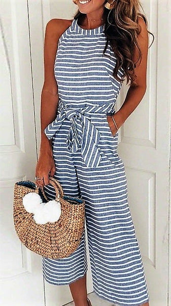 Heather Grey & White Striped Jumpsuit