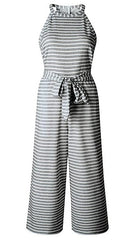 Heather Grey & White Striped Sleeveless Jumpsuit - Midnight Magnolia Boutique