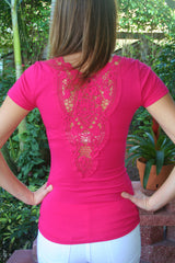 Pink Short Sleeve V-Neck Top with Crochet Back Detail - Midnight Magnolia Boutique