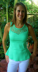 Mint Green Lace Peplum Top with Keyhole Back