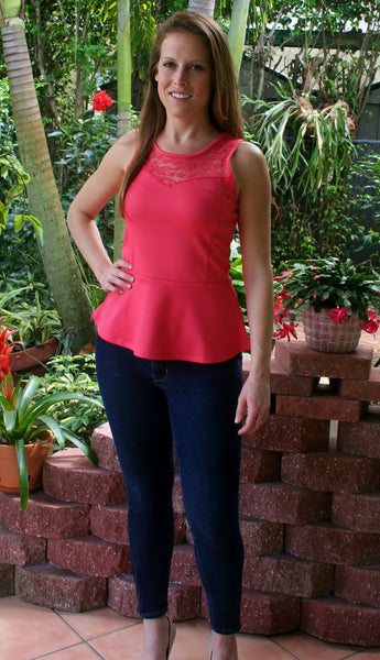 Coral Lace Peplum Top with Keyhole Back - Midnight Magnolia Boutique