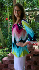 Multi-Aqua Chevron Striped Tunic Top