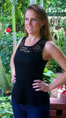 Black Lace Peplum Top with Keyhole Back - Midnight Magnolia Boutique