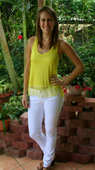 Yellow Racerback Tank Top with Fringe Bottom