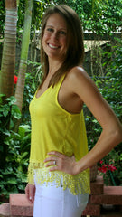 Yellow Racerback Tank Top with Fringe Bottom - Midnight Magnolia Boutique