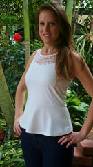 Ivory Lace Peplum Top with Keyhole Back - Midnight Magnolia Boutique