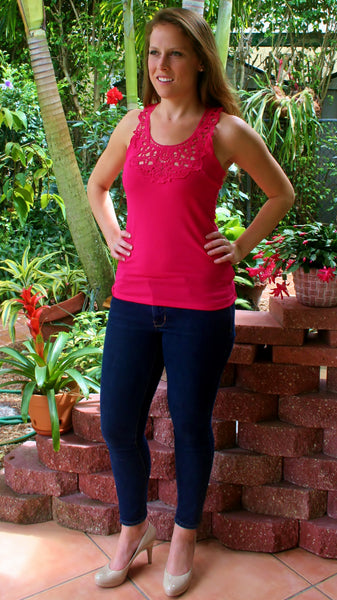 Hot Pink Lace Racerback Tank Top - Midnight Magnolia Boutique