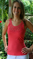 Coral Lace Racerback Tank Top - Midnight Magnolia Boutique