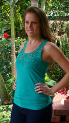 Emerald Green Lace Racerback Tank Top - Midnight Magnolia Boutique