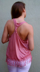 Rose Racerback Tank Top with Fringe Bottom