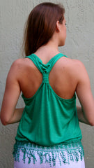 Green Racerback Tank Top with Fringe Bottom - Midnight Magnolia Boutique