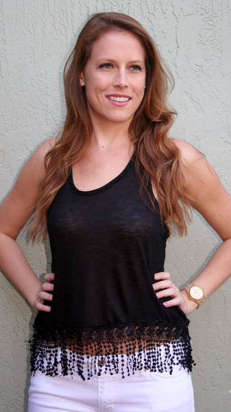 Black Racerback Tank Top with Fringe Bottom - Midnight Magnolia Boutique