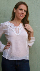 Bohemian Crochet Detailed Top - Ivory - Midnight Magnolia Boutique