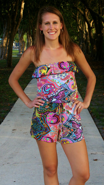 Pink Psychedelic Print  Romper - Midnight Magnolia Boutique