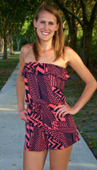 Crazy Wild Strapless Chevron Print Romper / Coral & Navy Print - Midnight Magnolia Boutique