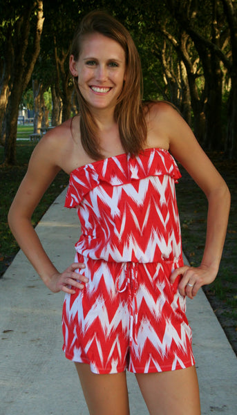 Orange & White Zig Zag Striped Romper