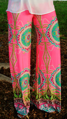 Navy & Lime Circle Print Palazzo Pants - Midnight Magnolia Boutique