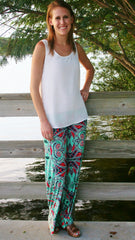 Mint & Coral Print Palazzo Pants - Midnight Magnolia Boutique