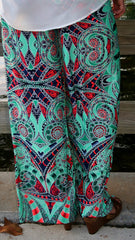 Mint Green & Coral Print Palazzo Pants - Midnight Magnolia Boutique