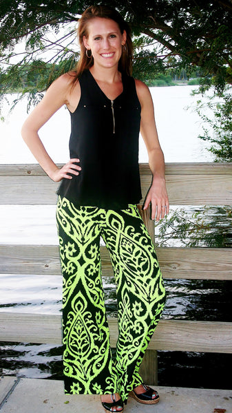 Lime & Black Dazzle Print Palazzo Pants - Midnight Magnolia Boutique
