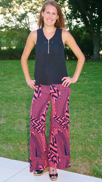 Coral & Navy Graphic Chevron Palazzo Pants - Midnight Magnolia Boutique