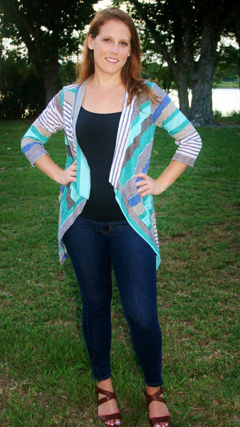 Mint/Grey/Ivory Striped Light Weight Cardigan - Midnight Magnolia Boutique