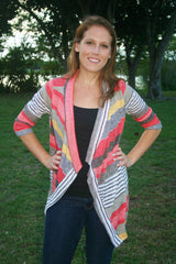 Coral/Tan/Ivory Striped Light Weight Cardigan - Midnight Magnolia Boutique