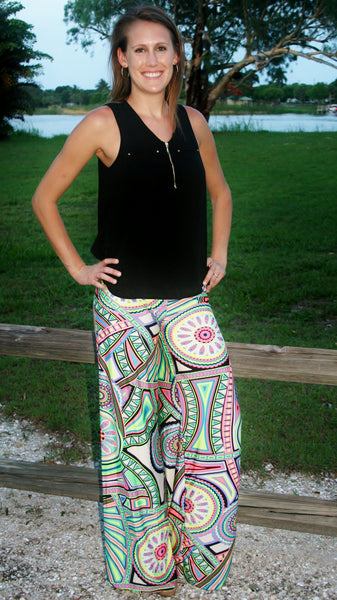 Multi Geometric Print Palazzo Pants - Midnight Magnolia Boutique